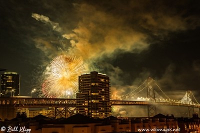 Fireworks over the San Francisco Bay Bridge