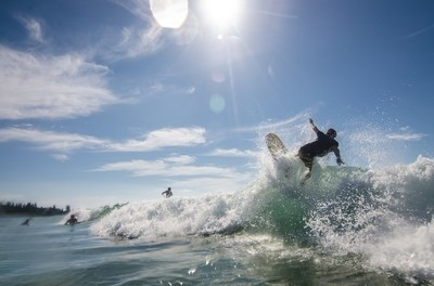 Surfing at King's Beach, QLD, Australia