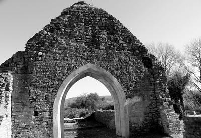 IMG_9989  St. Mary's Church within the Caerau Roman Hill Fort b-w