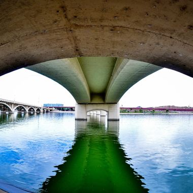 Fisheye lens view of under the bridge at Tempe Town Lake