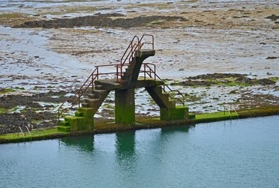 Mossy Diving Platform of a Tide Pool in St Malo