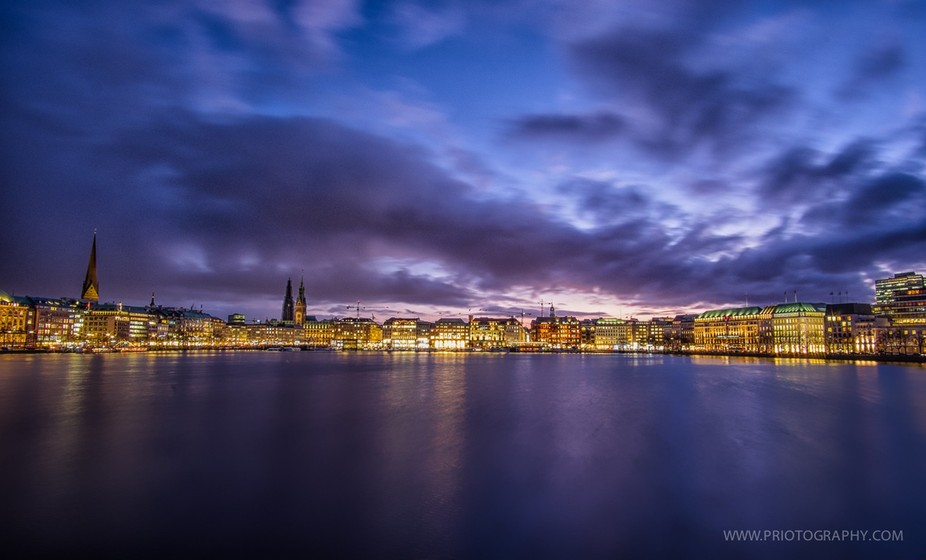 Another view from Alster lake Hamburg, a dramatic view with a dramatic sky