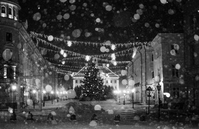 town hall square in snowfall