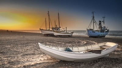 Four boats at Slettestrand