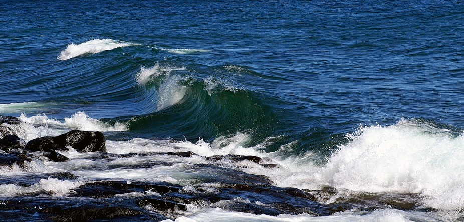 Waves roll in on Lake Superior along Minnesota's north shore near Cascade State Park.