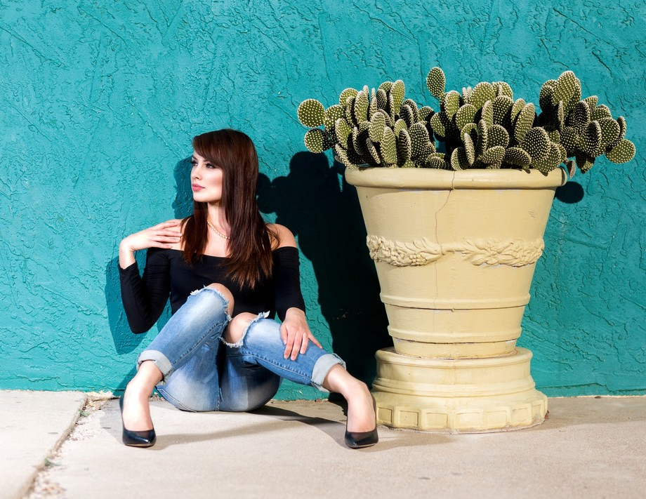 Sitting by Cactus