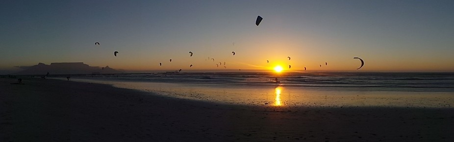 Sunset kite Surfing At Big Bay
