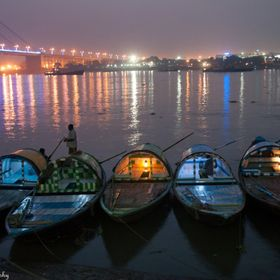 Five boats waiting on the bank of river, Ganges at Kolkata for a pleasure dusky ride of the romantic couples who would like some private moments ...