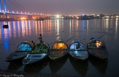 Dusky Delight: Five boats waiting on the bank of river, Ganges at Kolkata