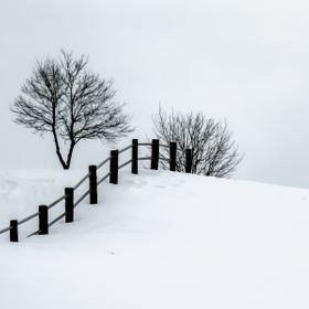 Winter's Scene: Fence on a Snow covered Hill