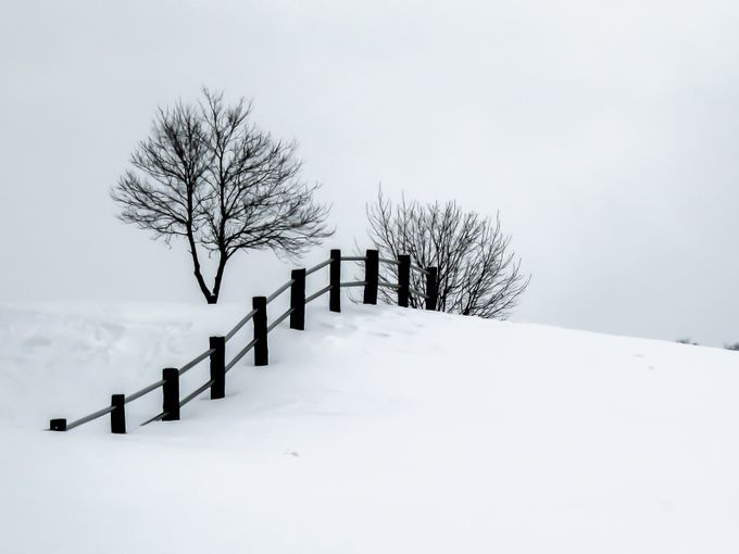 Winter's Scene: Fence on a Snow covered Hill by khalli - Fences Photo Contest