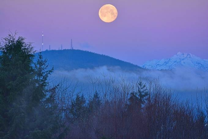 Snow Moon at Sunrise