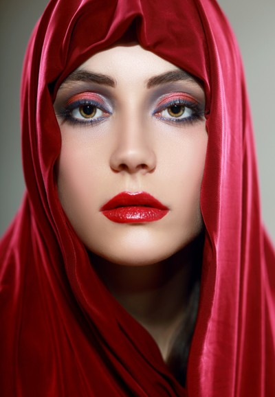 woman red scarf