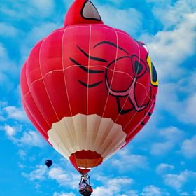 This cat balloon gives onlookers a wink as it sails into the New Mexico sky.