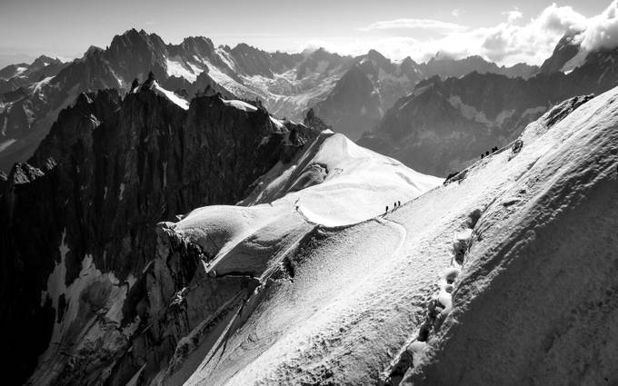 The Treck to Mont Blanc 02 by andrea_bc - Black And White Mountain Peaks Photo Contest