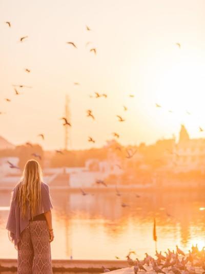 Sunset in Pushkar, Indi