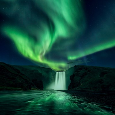 Skogafoss northern lights