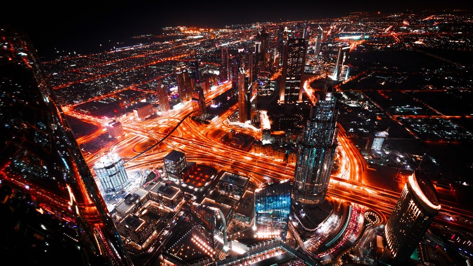 Nightview over Downtown Dubai from AT THE TOP on Burj Khalifa