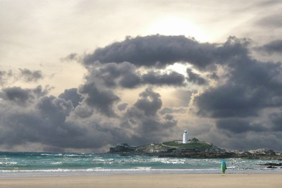 Godrevy Lighthouse approaching Storm
