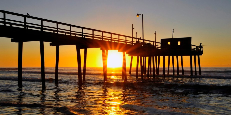 Sunrise at the Avalon, New Jersey fishing pier.