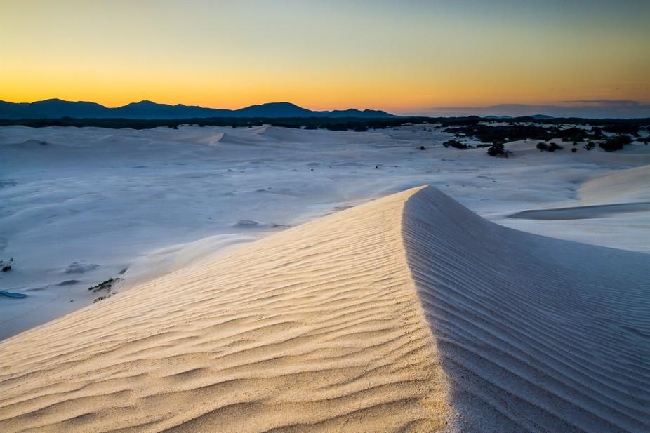 Sunrise at the Big Drift sand dune Wilsons Promontory National Park.