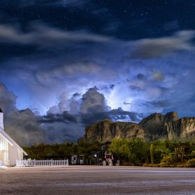 Beautiful night with the lightning show happening behind Superstition Mountains.