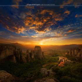 Sunset from Meteora (Greece). Vertorama composed by two landcape images.