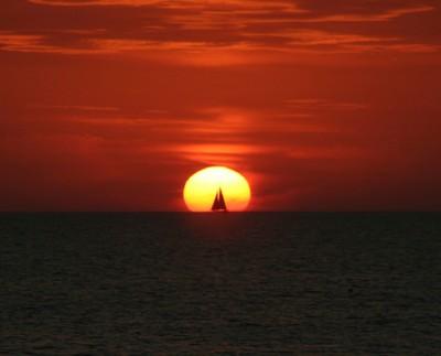 Setting sun and sailboat IMG_6385