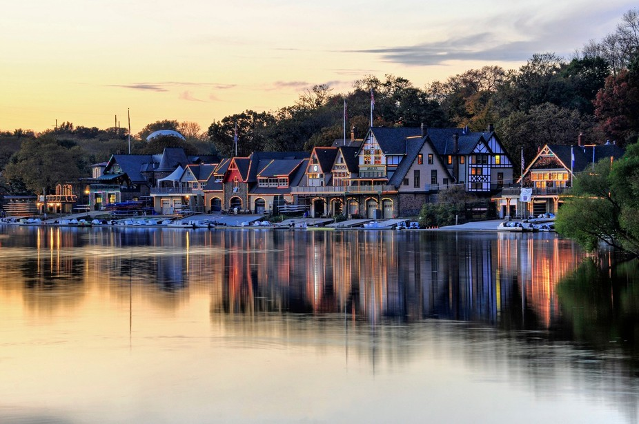 An HDR image of Boat House Row at dusk in Philadelphia, Pennsylvania.