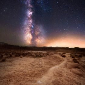 The milkyway over Goblin Valley State park in southern Utah.