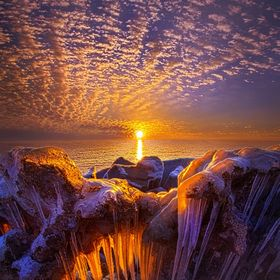 Winter ice on the shore of Lake Michigan in Wisconsin. Wisconsin Horizons By Phil Koch. http://phil-koch.artistwebsites.com