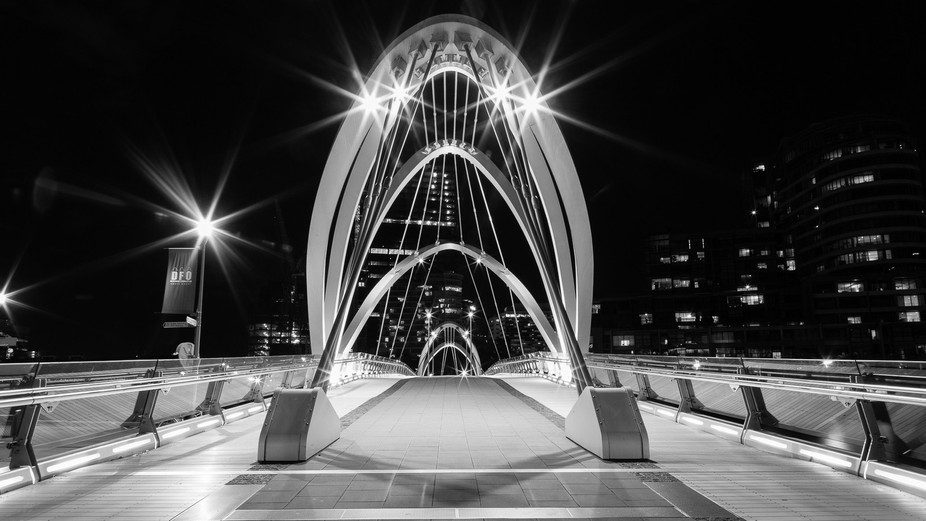 Seafarers Bridge in Black and White, Melbourne