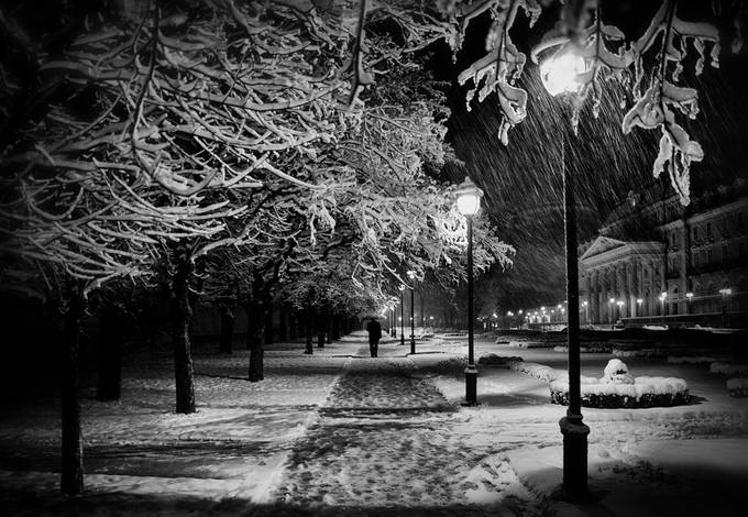 At night  by semy - Towns In The Winter Photo Contest