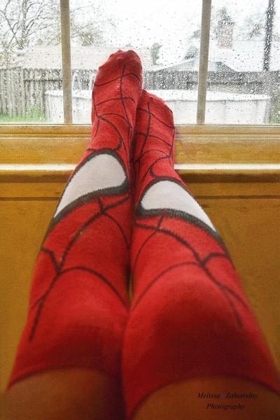 Enjoyin' The Rainy Day In My New Spidy Socks...