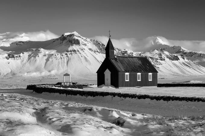 iceland__buoakirkja_01BW by gilesrrocholl - Winter In Black And White Photo Contest