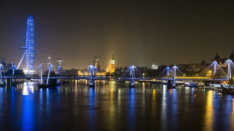 London at Night: Hungerford Bridge and Westminster