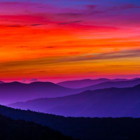 Sunrise at Waterrock Knob Overlook on the Blue Ridge Parkway in North Carolina, July 2015.