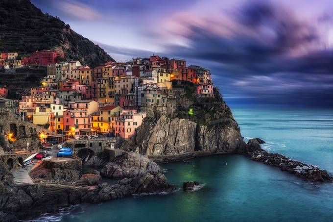 Manarola Magic by aaronchoiphoto - Color Theory Photo Contest