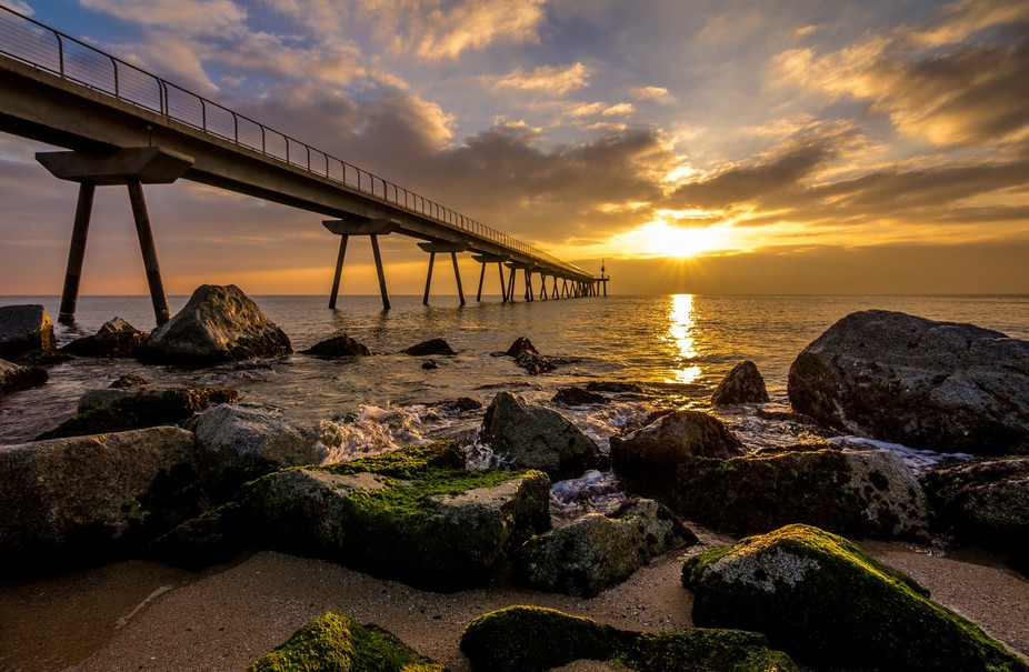 Picture taken during sunrise in Badalona, which is next to Barcelona.
