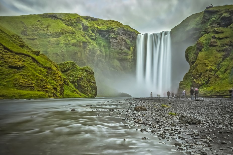 Skógafoss is a waterfall situated on the Skógá River in the south of Iceland at the cliffs of ...