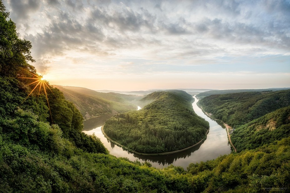 """Shot this photo during the sunrise at the german horseshoe bend called """"Saarschleife&amp..."""