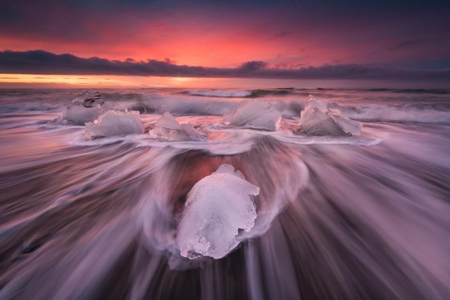 outstanding sunrise at the Breiðamerkursandur / Iceland Nikon D810 with 14-24mm f/2.8G ED AF-S N...