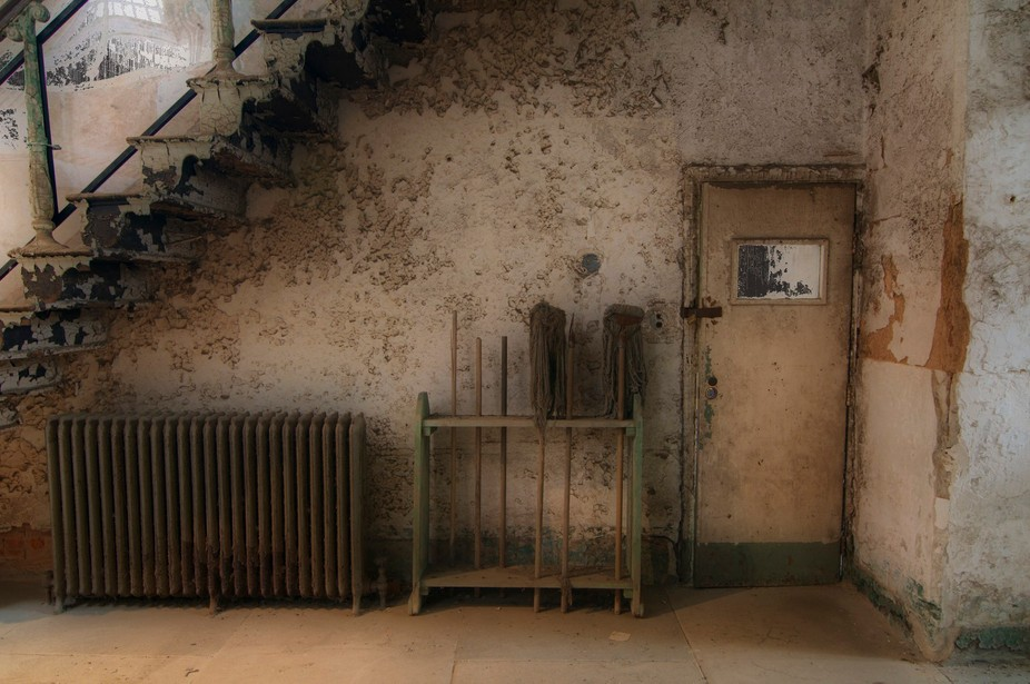 Taken with a Nikon D300 of the Eastern State Penitentiary in Philadelphia.  Processed as an 'Orton' photo.