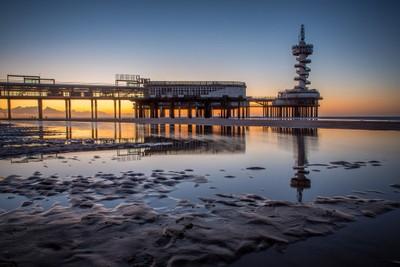 Scheveningen Pier by sunset