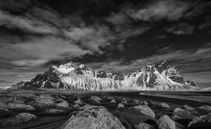 Vesturhorn from Stokssnes Beach, Infrared by HaliSowle - A Black And White World Photo Contest