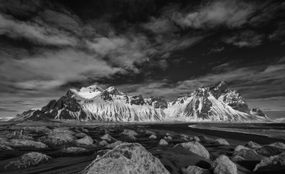 Vesturhorn from Stokssnes Beach, Infrared
