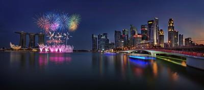 Singapore Skyline with fireworks