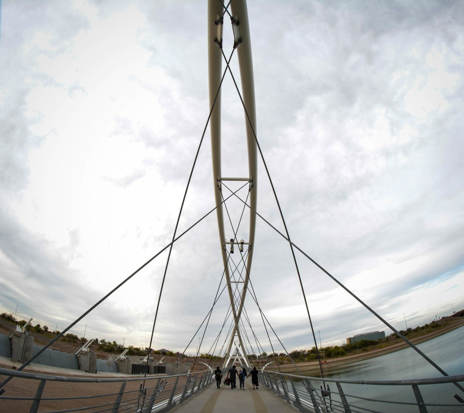 Had fun playing with my fisheye lens.  Walking bridge over the dam at Tempe Town Lake.