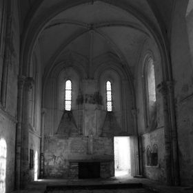 France,Church,Empty,Black and White
