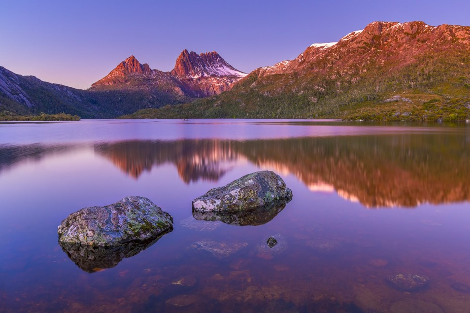Dawn over Cradle Mountain in Tasmania, Australia